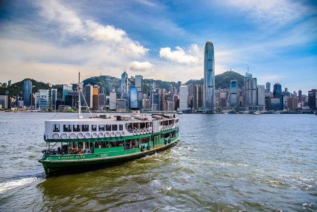 The Star Ferry crosses Victoria Harbour in Hong Kong.