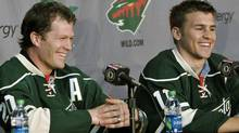 New Minnesota Wild NHL hockey players Ryan Suter, left, and Zach Parise are introduced during a news conference Monday, July 9, 2012 in St. Paul, Minn. (Associated Press)
