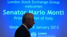Italy's Prime Minister Mario Monti at the London Stock Exchange, Jan. 18, 2012. Mr. Monti's government outlined liberalization plans Friday aimed at putting Italy's economy back on its feet. (Andrew Winning/Reuters/Andrew Winning/Reuters)