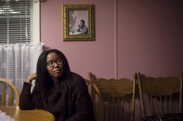 Shonda Borden sits at the kitchen table in her aunt Sarah's home in Monastery, N.S.