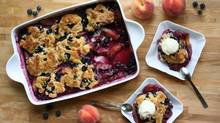 Enjoy it warm, enjoy it cold--just make sure you enjoy this peach blueberry cobbler at the height of the peaches' ripeness. (Stephanie Eddy)