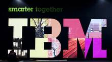 The IBM booth at a trade fair in Hanover, Germany (JOERG SARBACH/JOERG SARBACH/AP)