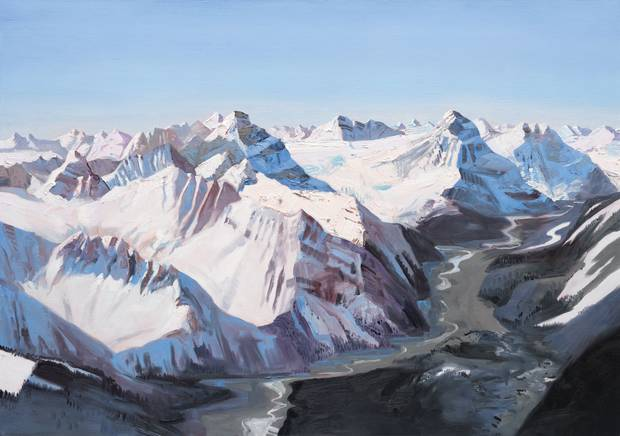 The Whirlpool River and the Hooker Icefield, 2016, oil on linen, 48 x 68 inches.