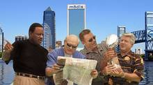 FOX Sports presents Super Bowl XXXIX, live Sunday, February 6 from Jacksonville, FL. Pictured L-R: James Brown, FOX NFL SUNDAY co-host, Terry Bradshaw, FOX NFL SUNDAY co-host, Howie Long, FOX NFL SUNDAY analyst and Jimmy Johnson, FOX NFL SUNDAY analyst.