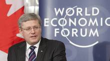 Canadian Prime Minister Stephen Harper makes a statement at the World Economic Forum in Davos, Switzerland Wednesday, January 25, 2012. (Adrian Wyld/Adrian Wyld/The Canadian Press)