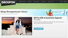 Groupon site for the Ottawa area, as of Monday November 14, 2011 (Screengrab from Groupon.com)
