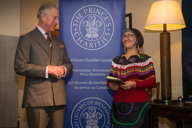 Prince Charles plays host to a reception and roundtable discussion on perserving Indigenous language at his residence at Llwynywermod, Dyfed, Wales. Next to the Prince is Monika Ittusardjuat, who read a blessing on the house.