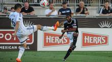 Philadelphia Union defender Raymon Gaddis (28) takes a shot during the first half of the match against the Vancouver Whitecaps FC at PPL Park on June 7, 2014. (John Geliebter/USA Today Sports)