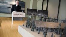 Michael Audain discusses expansion plans for the Audain Art Museum as he stands by a model of the 56, 000 square foot building in Vancouver, British Columbia, Tuesday, May 7, 2013. The Audain Art Museum will be located in Whistler with a proposed expansion from 27, 000 square feet to 56, 000 square feet. (Rafal Gerszak for The Globe and Mail)