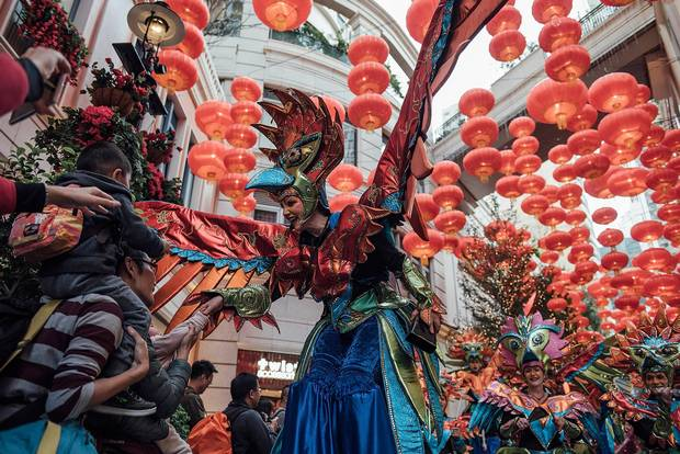 Performers participate in a Chinese New Year Parade on February 9, 2016 in Hong Kong.