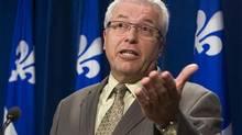 Ex-Coalition Avenir Québec MNA Daniel Ratthé speaks at a news conference at the Quebec legislature Tuesday, May 21, 2013. (CLEMENT ALLARD/THE CANADIAN PRESS)
