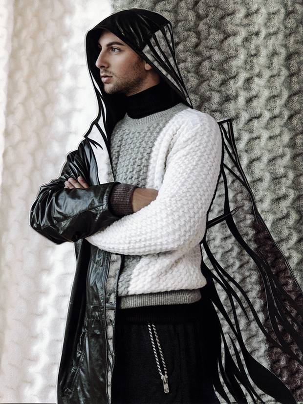 Leather coat, $18,500 at Hermès (www.hermes.com). Berluti sweater, $2,608, Dries Van Noten turtleneck, $605 at Holt Renfrew (www.holtrenfrew.com). Sport trousers, $250 through www.andrewcoimbra.com.