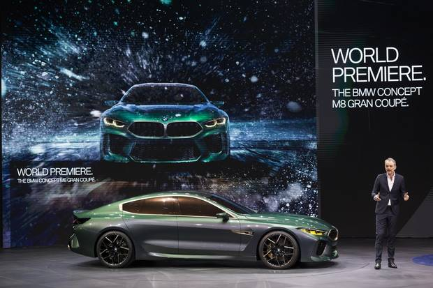 Adrian Van Hooydonk, senior vice-president of design for BMW Group, presents the new BMW Concept M8 Gran coupe.