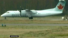 This still frame image from a CTV News video shows the Air Canada Jazz plane after it made its emergency landing in Cassidy, B.C., on Dec. 12, 2013. (CTV News)