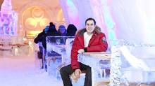Chef Matthieu Saunier at the Pommery Ice Restaurant in Montreal's Snow Village Hotel. (Leila Ashtari)