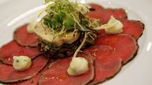 Veal carpaccio, truffled potato crema and terrina de foie gras at Modus Ristorante (Deborah Baic/The Globe and Mail/Deborah Baic/The Globe and Mail)