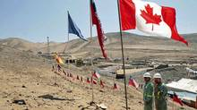 Employees of the Canadian company Precision Drilling finish planting a Canadian flag among the Chilean flags planted weeks ago for the miners in Copiapo on Oct. 2, 2010. (STRINGER/CHILE/Luis Hidalgo/Reuters)