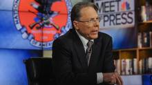 "Wayne LaPierre, CEO and Executive Vice President, National Rifle Association, appears on ""Meet the Press"" in Washington D.C. in this December 23, 2012 handout photo. (William B. Plowman/NBC/Handout/Reuters)"