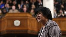Minister for International Cooperation Bev Oda speaks during Question Period in the House of Commons on Parliament Hill in Ottawa. (CHRIS WATTIE/REUTERS)