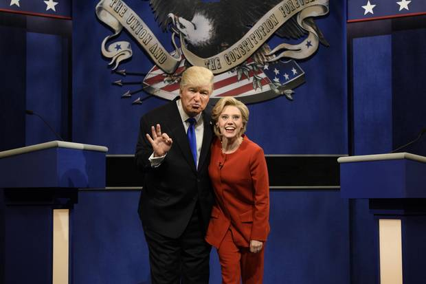 Alec Baldwin, as Donald Trump, and Kate McKinnon, as Hillary Clinton, perform during the opening sketch of Saturday Night Live on Oct. 1.