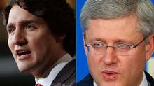 A combination photo shows Liberal Leader Justin Trudeau, left, and Prime Minister Stephen Harper. (The Canadian Press and Reuters)