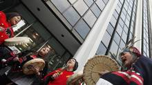 Native protestors demonstrate at Enbridge headquarters in Vancouver in December of 2010. (Simon Hayter For The Globe and Mail)