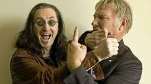 Geddy Lee and Alex Lifeson pose for an interview, April 28, 2010. (Peter Power / The Globe and Mail/Peter Power / The Globe and Mail)