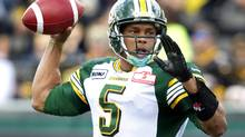 Edmonton Eskimos quarterback Kerry Joseph throws a pass against the Hamilton Tiger-Cats in the first half of their CFL football game in Hamilton September 15, 2012. Joseph and the Eskimos face the Argonauts in Sunday's East semi-final. (Fred Thornhill/REUTERS)