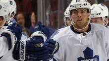 Joffrey Lupul #19 of the Toronto Maple Leafs returns to the bench after scoring his third goal of the game at 13:13 of the second period against the New Jersey Devils at the Prudential Center on November 2, 2011 in Newark, New Jersey. (Photo by Bruce Bennett/Getty Images) (Bruce Bennett/Getty Images)
