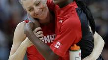 Canada's Lizanne Murphy (left) had eight points off the bench and Tamara Tatham had five rebounds and nine points as Canada beat Jamaica 75-37 in their first game at the FIBA Americas Championship for Women in Xalapa, Mexico on Sunday. (file photo) (ERIC GAY/AP)