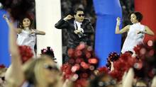 Koren pop sensation Psy sing his song Gangnam Style at halftime during the NFL game between the Buffalo Bills and the Seattle Seahawks at the Rogers Centre in Toronto, December 16, 2012. (J.P. MOCZULSKI for The Globe and Mail)