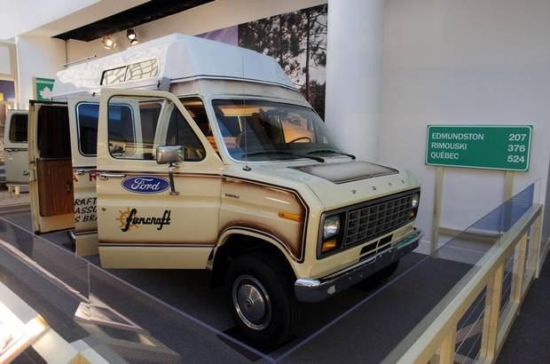 The van Terry Fox used in his Marathon of Hope is on display April 1, 2015 at the Canadian Museum of History in Gatineau, Quebec.