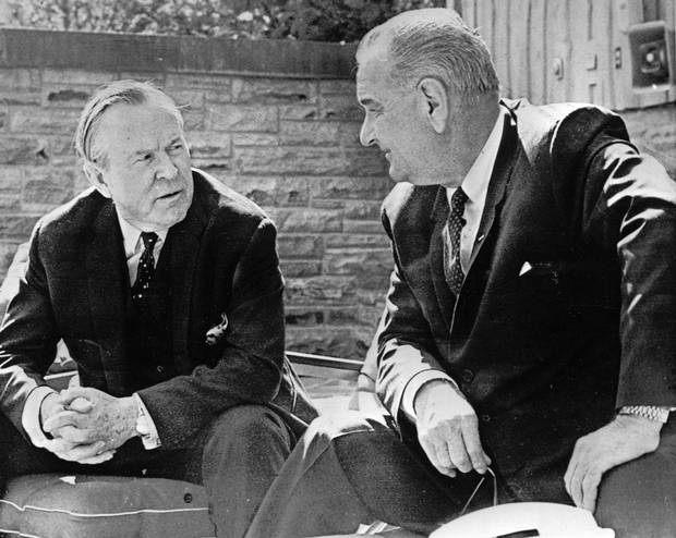 April 3, 1965: Canadian prime minister Lester Pearson, left, stresses a point in his discussions about the Vietnam War with U.S. president Lyndon Johnson at Camp David.