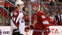 Peter Mueller #88 of the Colorado Avalanche and Wojtek Wolski #86 of the Phoenix Coyotes await a face off during the first period of the NHL game at Jobing.com Arena on Thursday night. (Christian Petersen/2010 Getty Images)