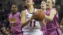 Notre Dame's Natalie Achonwa grabs a rebound (Tom Lynn/The Associated Press)