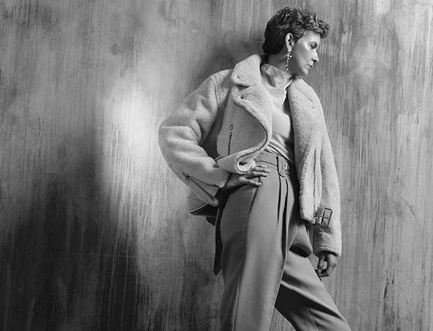 Acne Studio Shearling Moto, $3,120, 3.1 Phillip Lim trousers, $730 at Saks Fifth Avenue (www.saksfifthavenue.com). Wilfred blouse, $225 at Aritzia (www.aritzia.com). Biko earrings, $88 through www.ilovebiko.com.