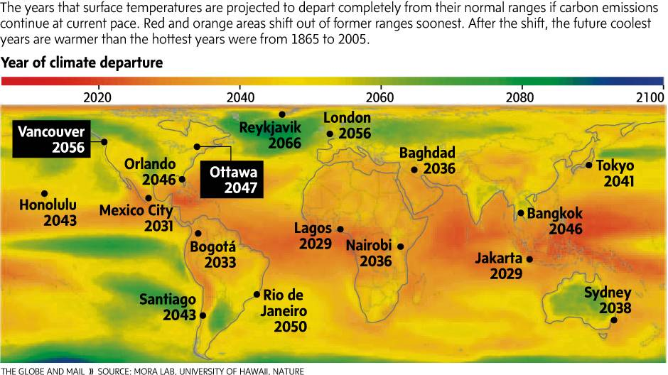 Infographic: Climate change's estimated arrival dates around the world