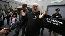 Environmentalist and founder of Sea Shepherd, Paul Watson, talks to media and friends after he was released from prison in Frankfurt, May 21, 2012. (KAI PFAFFENBACH/REUTERS)