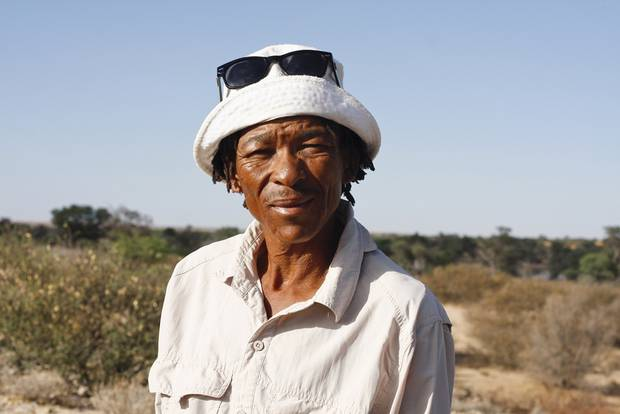 Blade Witbooi is a hunting guide from Africa's San people, which he prefers to call Bushmen. He is shown on the Kalahari hunting farm that is now community-owned by the San as a result of a land claim.