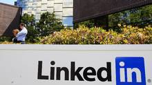 LinkedIn Corp., the professional networking Web site, displays its logo outside of headquarters in Mountain View, Calif. (Paul Sakuma/AP)