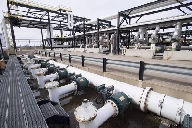 Pipes are seen at the Kinder Morgan Trans Mountain facility in Edmonton, Alta., Thursday, April 6, 2017.