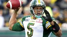 Edmonton Eskimos quarterback Kerry Joseph throws a pass against the Hamilton Tiger-Cats in the first half of their CFL football game in Hamilton September 15, 2012. (FRED THORNHILL/REUTERS)