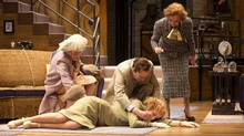 "Jennifer Phipps as Lady Saltburn, Julia Course as Daphne Stillington, Steven Sutcliffe as Garry Essendine, and Mary Haney as Monica Reed in ""Present Laughter"" (David Cooper)"