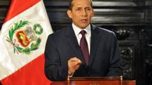 Peru's President Ollanta Humala speaks at the government palace in Lima June 23, 2012. A recent trade pact with the U.S. is added impetus for clearing up an unpaid 40-year-old bond issue. (© Handout/REUTERS)