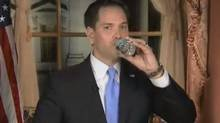 Screen grab from video of Marco Rubio's infamous gulp of water