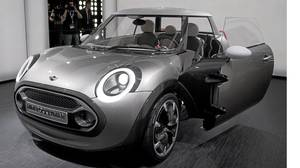The Mini Rocketman concept car on display at the Geneva auto show.