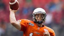 B.C. Lions' quarterback Travis Lulay passes against the Saskatchewan Roughriders during the first half of a pre-season CFL football game in Vancouver, B.C., on Wednesday June 13, 2012. (DARRYL DYCK/THE CANADIAN PRESS)