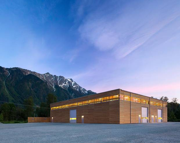 BC Passive House's post-and-beam structure is made from glue-laminated Douglas fir beams. Some walls are made from panels of cross-laminated timber, essentially a thick and precisely engineered form of plywood.