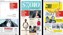 The Globe's front page entries, designed by Jason Chiu, following the paper's redesign in 2010. (Jason Chiu/The Globe and Mail)