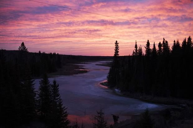 A colourful sunrise illuminates the river along Highway 17 between Thunder Bay and Dryden. Finding jobs in northwestern Ontario isn't easy, even for for graduates: Employment fell dramatically in the wake of the forest sector crisis and the mining sector hasn't lived up to its economic promise.